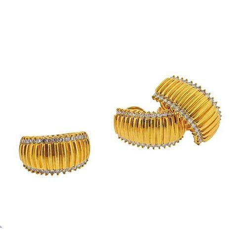 18K Gold Diamond Earrings Ring Set