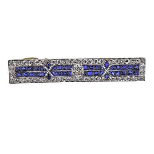 Art Deco Platinum Diamond Synthetic Sapphire Brooch Pin