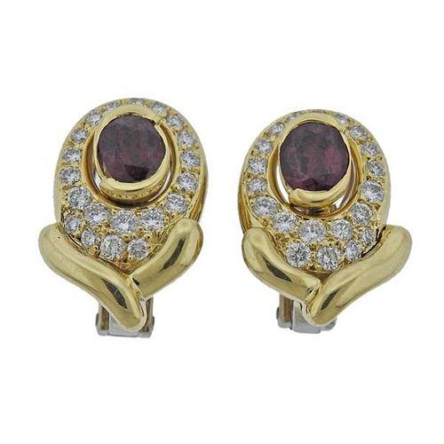 18k Gold 4.00ctw Ruby Diamond Earrings
