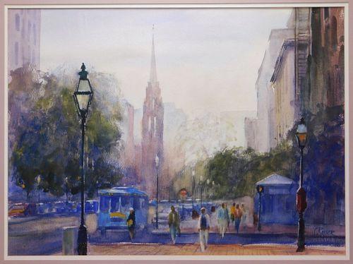 Curtis Rosser Impressionist Boston WC Painting