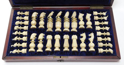 C. 1903 Inuit Hand Carved Walrus Chess Set