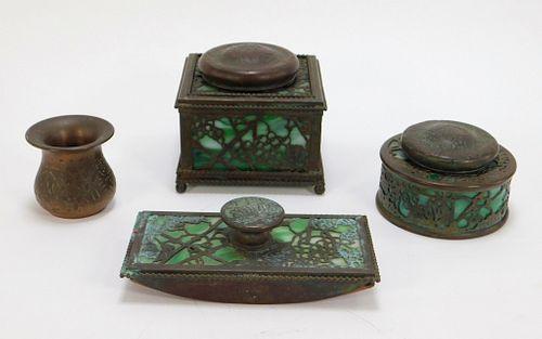 4PC Tiffany Bronze & Slag Glass Desk Set