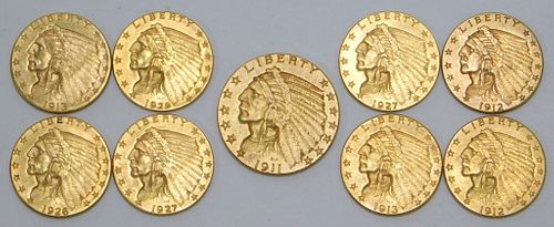 9PC United States 2.5 Dollar Gold Coin Group