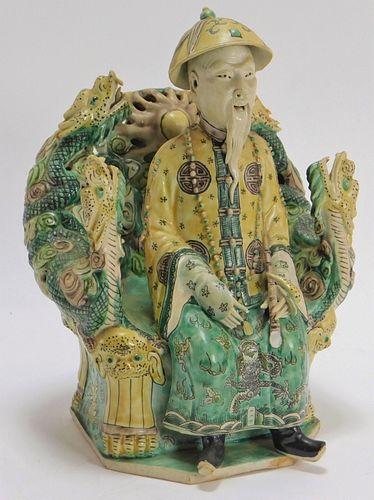 19C Chinese Sancai Seated Emperor Porcelain Statue