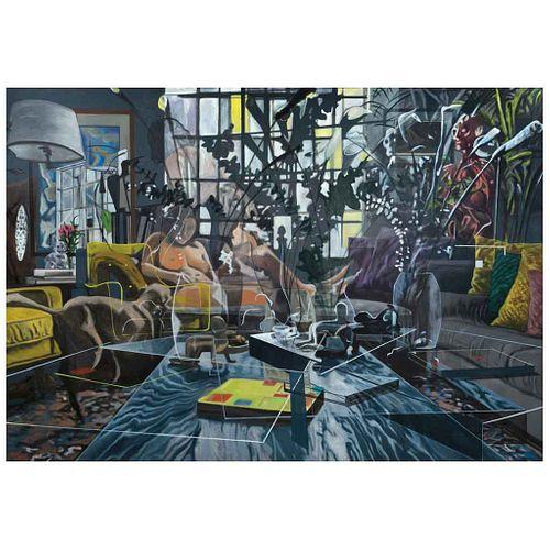 "VALERIE CAMPOS, El espejo de la transparencia, Signed and dated 2021 on back, Oil on canvas, 78.7 x 112.2"" (200 x 285 cm), Certificate"