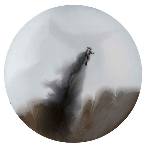 """LIDÓ RICO, Homme volant, Signed and dated 2014, Mixed technique and polyester resin on wood, 31.4"""" (80 cm) in diameter, Certificate"""