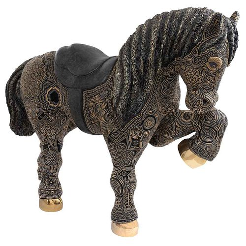 """MENCHACA STUDIO, Cabalgando,Signed,Sculpture with beads and hooves with 14k gold bath, 64.5 x 86.6 x 25.5"""" (164 x 220 x 65 cm), Certificate"""