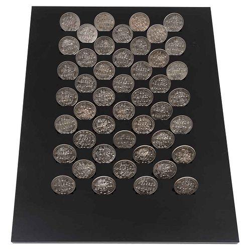 """MIGUEL RODRÍGUEZ SEPÚLVEDA, Elegía y percusión, 2019, Unsigned, Punched nickel coins, 16.1 x 10.4 x 1.1"""" (41 x 26.5 x 3 cm), Certificate"""