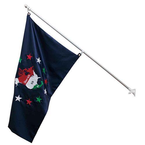 "ROY MEUWISSEN, Tierra incógnita, Unsigned, Embroidered fabric with flagpole 3+PA, 34.2 x 53.1"" (87 x 135 cm) (flag), 72.8 x 2.7 x 1.1"" (185 x 7 x 3 cm"