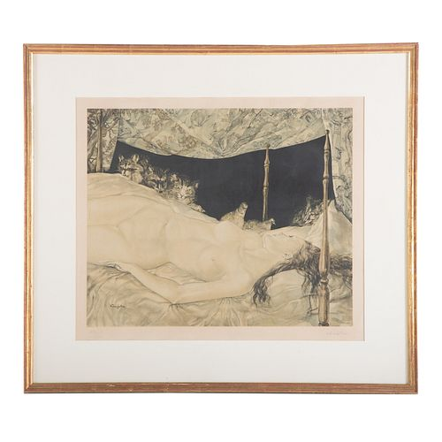 "Tsuguharu Foujita. ""La Reve,"" lithograph"