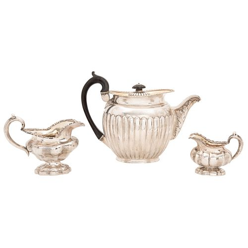 """LOT OF TEAPOT AND PAIR OF CREAM JUGS RUSSIA, 19TH CENTURY RUSSIAN SILVER 5.9"""" (15 cm) maximum height Approximate weight: 999.4 g"""