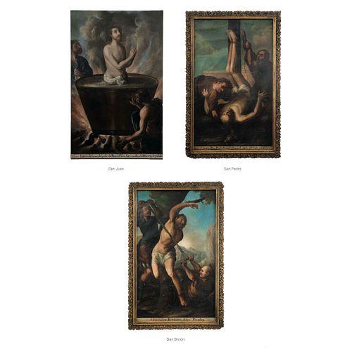 """ANTONIO DE TORRES (MEXICO, 1666-1754) MARTIROLOGIO (SANTOS BARTOLOMÉ, JUAN, PEDRO Y SIMÓN) Oil on canvas, 62.9 x 38.1"""" (160 x 97 cm)"""