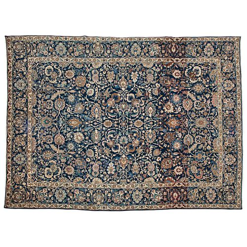 """TABRIZ RUG, IRAN, Ca. 1920 Finely knotted by hand with natural dyes in blue and beige colors. 154.3 x 111.4"""" (392 x 283 cm)"""