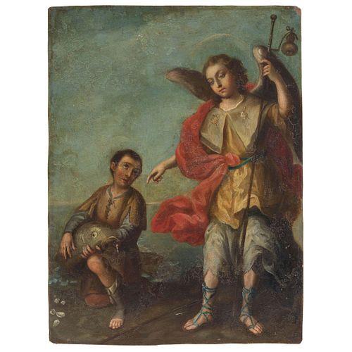 "SAN RAFAEL ARCÁNGEL MEXICO, 18TH CENTURY Oil on engraved copper sheet Engraving on back 11 x 8.2"" (28 x 21 cm)"