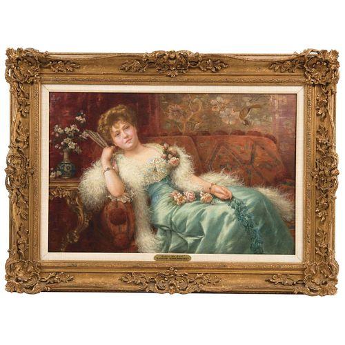 "EMIL EISMAN-SEMENOVSKY  (OLD KINGDOM OF POLAND 1857-1911)  BEFORE THE BALL Oil on canvas  14.5 x 22.8"" (37x 58 cm)"