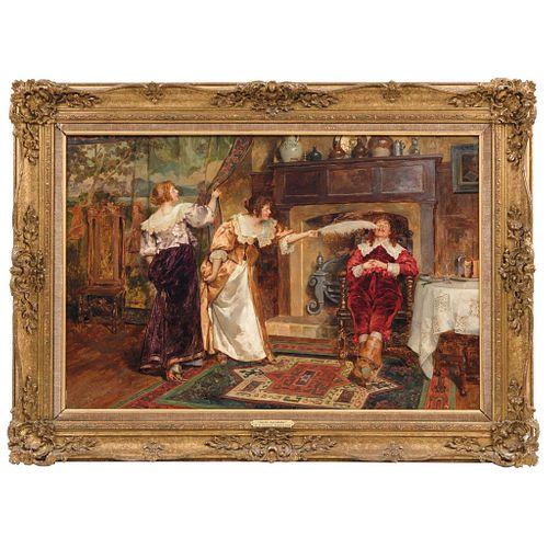 "130 HENRY GILLARD GLINDONI  (LONDON, ENGLAND 1852-1913) SUEÑO AGRADABLE 19.4 x 29.5"" (49.5 x 75 cm)"