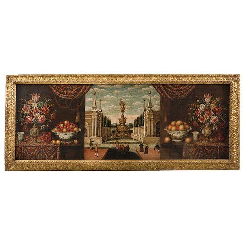 "ANONYMOUS NEW SPANISH BAROQUE, VISTA IDEALIZADA DEL CANAL DE IZTACALCO O CANAL DE LA VIGA, MEXICO, 18TH CENTURY, 72.8 x 26.7"" (185 x 68 cm)"