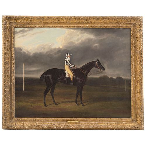 """DAVID DALBY (YORKSHIRE, 1810-1865)  JERRY WINNER OF THE 1824 ST. LEGER Oil on canvas Conservation details 29.1 x 22.4"""" (74 x 57 cm.)"""