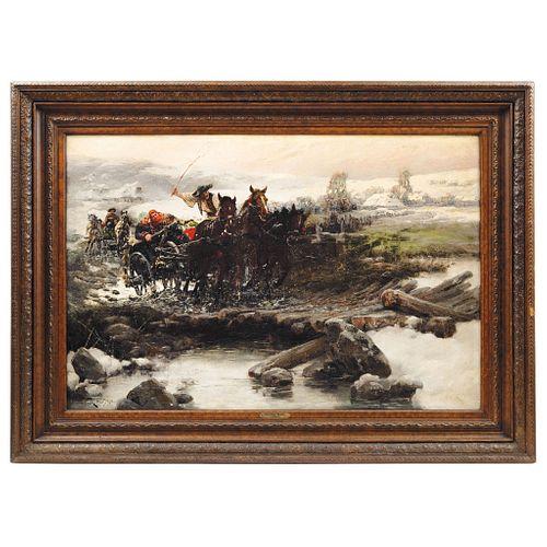 "JAROSLAV FRANTISEK JULIUS VESIN (CZECH REPUBLIC, 1859-1915) UN PASEO DIFÍCIL Oil on canvas Signed and dated 23.6 x 35.4"" (60 x 90 cm)"