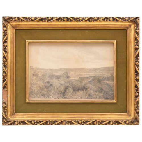 "JOSÉ MARÍA VELASCO (MEXICO, 1840-1912) PANORAMA DEL TEMPLO DE CALERA, CEMPOALA, VERACRUZ Signed and dated 1891 10 x 14.9"" (25.5 x 38 cm)"