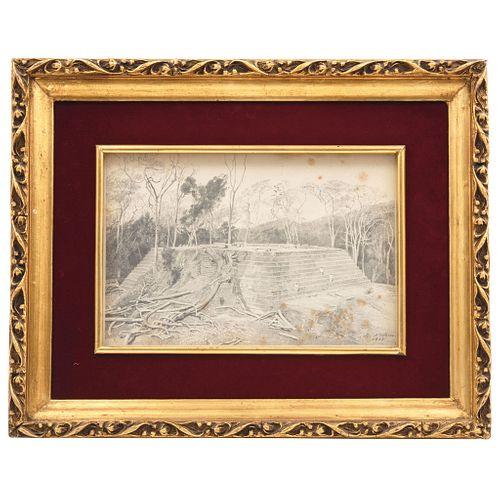 """JOSÉ MARÍA VELASCO (MEXICO, 1840-1912) VISTA EN CONJUNTO DEL TEMPLO MAYOR, CEMPOALA, VERACRUZ Signed and dated 1892 10.2 x 14.9"""" (26 x 38 cm)"""