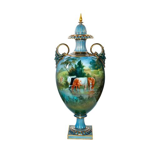Doulton Burslem C. Hopkins Exhibition Vase, Pastoral Scene