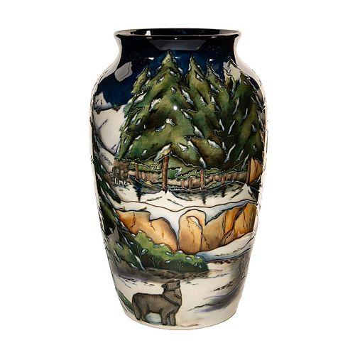 Lg Moorcroft Pottery Anji Davenport Vase, Isle Royale, 2002