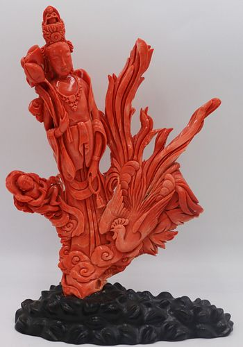 Large Carved Coral Figural Grouping.