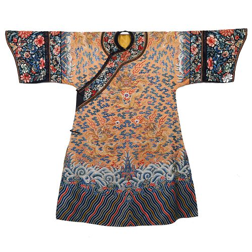 A YELLOW-GROUND EMBROIDERED 'CLOUDS AND DRAGONS' LADY'S ROBE