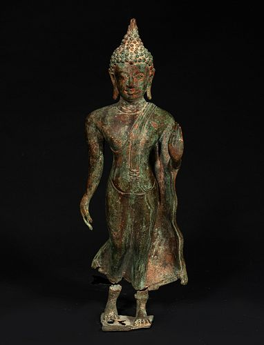 Buddha figure; Indonesia, Java, 7th-10th centuries. Bronze, with remains of polychrome. Wooden base, lined with fabric.