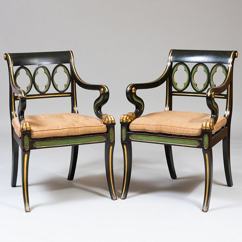 Pair of Regency Style Green Painted and Parcel-Gilt Armchairs