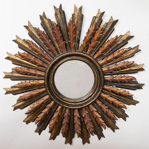 Painted and Giltwood Sunburst Mirror