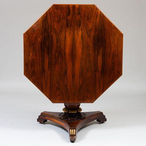Regency Style Rosewood and Parcel-Gilt Tilt-Top Center Table