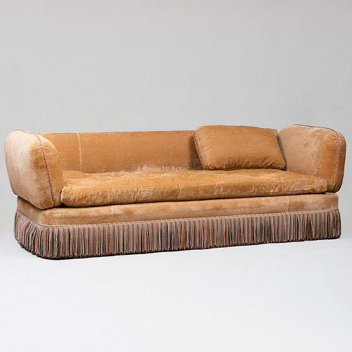 Modern Tufted Three Seat Sofa with Fringe Upholstered in Brunschwig & Fils 'Mozart Velvet' Fabric