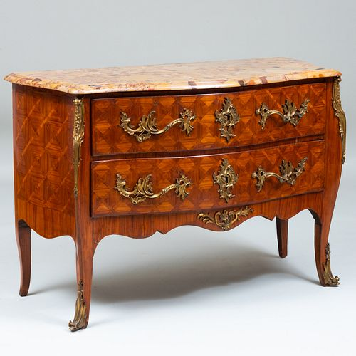 Louis XV Style Ormolu-Mounted Kingwood Parquetry Commode