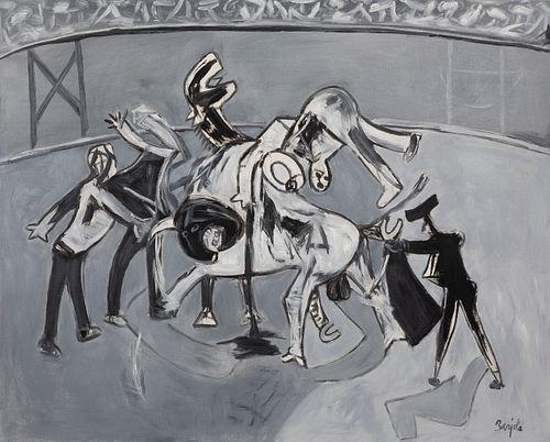 "JUAN BARJOLA (Torre de Miguel Sesmero, Badajoz, 1919 - Madrid, 2004). ""Bullfighting"". Oil on canvas. Signed in the lower right corner."