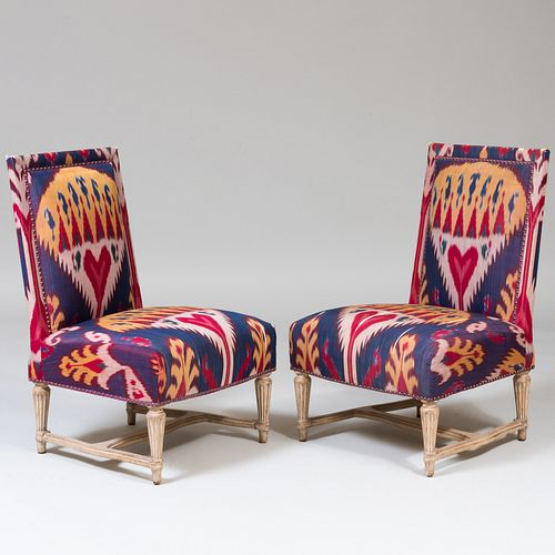 Pair of Louis XVI Style Ikat Upholstered Slipper Chairs