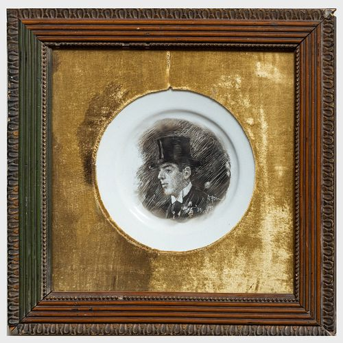 Pair of English Ironstone Plates with Smoke Scratched Portraits
