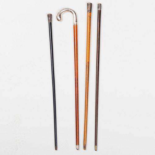 Four Silver-Mounted Walking Sticks