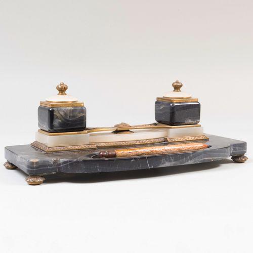Art Nouveau Brass Mounted Hardstone Inkstand