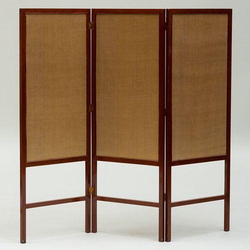 Mahogany and Upholstered Three Panel Screen