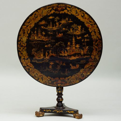 Chinese Export Black Lacquer and Parcel-Gilt Tilt Top Table