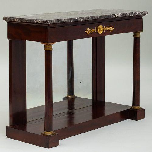 Empire Ormolu-Mounted Mahogany Console Table