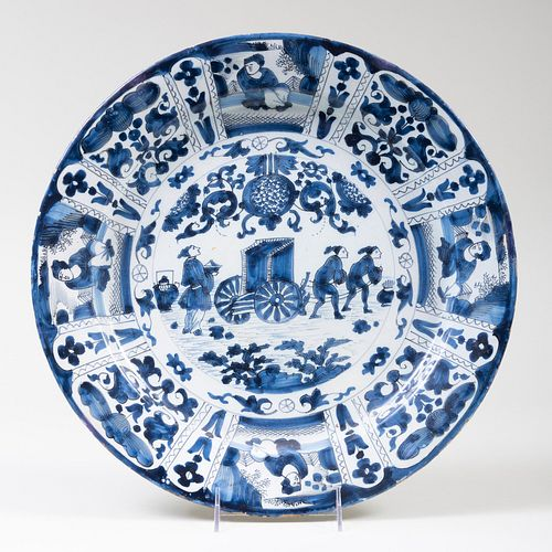 Delft Blue and White Charger with Figures