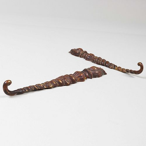 Pair of Neoclassical Style Bronze Flaming Torch Hooks