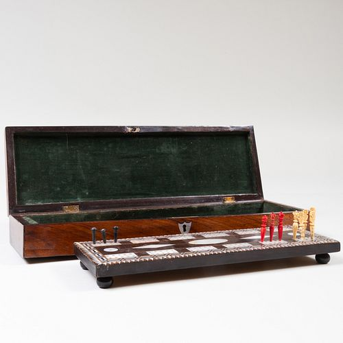 English Mahogany, Rosewood and Mother-of-Pearl Cribbage Set