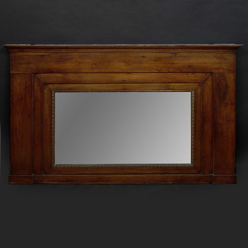 French Provincial Fruitwood Overmantle Mirror