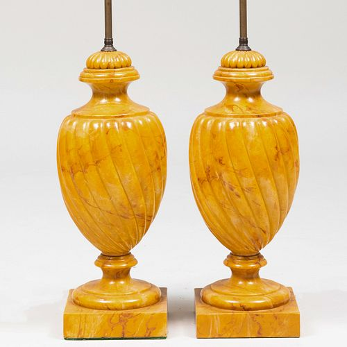 Pair of Large Carved and Faux Painted Composition Spiral Reeded Urn-Formed Lamps
