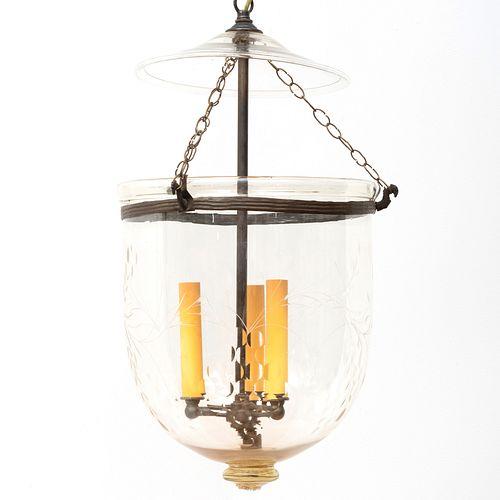Two Patinated-Metal-Mounted Three-Light Hundi Lanterns
