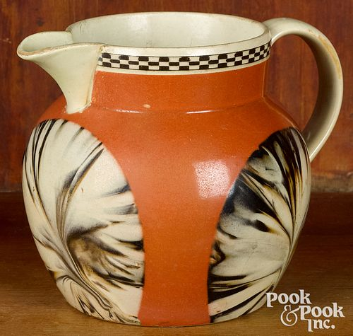 Mocha pitcher, with fan decoration